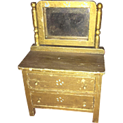 Old Wooden German Dollhouse Painted Chest of Drawers with Mirrors