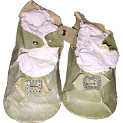 Antique Oil Cloth Green Doll Shoes for Larger Doll