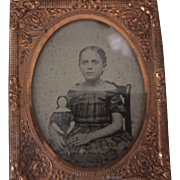 Antique Tin type Image Little Girl and Her China Head Doll