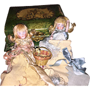 Antique Victorian All Bisque Sister Dolls Sewing Pin Cushion Vanity Box