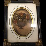 Antique Civil War Era Miniature Eglomise Shadow Box Memorial Frame
