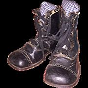 Antique Victorian Black Lace Up Leather Child's Shoe/ Boots