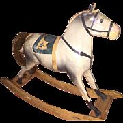 Antique German Miniature Paper Mache Rocking Horse