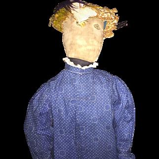 """Antique Folk Art Stitched Eye 20"""" Cloth Rag Doll"""