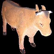Antique German Molded Composition Flocked Stick Leg Cow