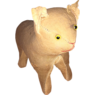 Antique Folk Art Cloth Straw Stuffed Glass Eyed Cat