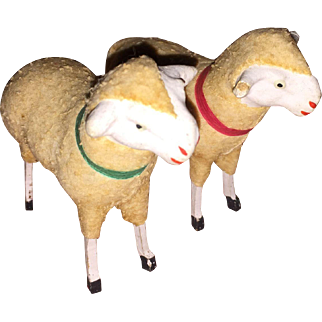 2 German Felted Putz Stick Leg Sheep