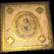 Antique Applied Lithogragh Gold Guilt Florentine Victorian Vanity Keepsake Box