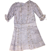 Old Baby Blue Checked Pleated Doll Dress