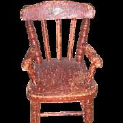 Antique Paint Decorated  Primitive Miniature Doll Chair