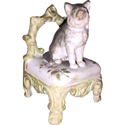 Antique Parian Bisque Kitty Sitting on a Vanity Chair