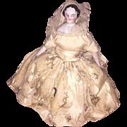 Antique German All Original Mid 1800's Bridal Dress Dollhouse China Head Doll