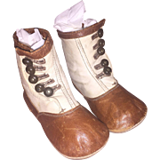 Antique Victorian Two Tone Shoe Button Child's Boot / Shoes