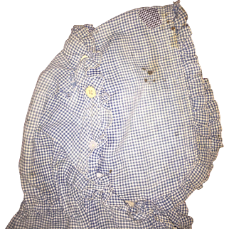 Antique Early Gingham Woman's Hiomespun Farm Bonnet