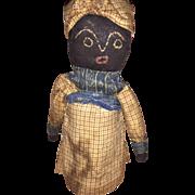 Black Cloth Folk Art Stitched Face OOAK Cabinet Size Bottle Doll