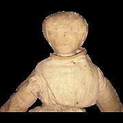 Antique American Pencil Face Folk Art 1800's Cloth Doll