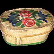 Antique German Painted Miniature Keepsake Wooden Bridal Box