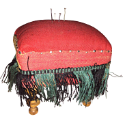 Antique Victorian Miniature Sewing Make Do Tuffet Pin Cushion