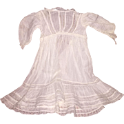 Antique Cotton and Lace 1850's Doll Dress