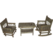 Folk Art Primitive  Painted Miniature Dollhouse 3 Piece Furniture Set