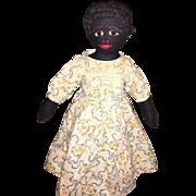 Antique Folk Art American Black Cloth Rag Doll