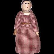 Antique Wooden Grodner Peg Wooden Dollhouse Doll