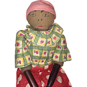 """Old Folk Art 17"""" Southern All Original Cloth Doll With Carved Wood Limbs"""