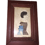 Antique American Handcolored Silouette Watercoloe Portrait Circa 1840