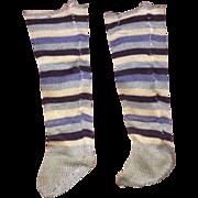 Antique Miniature Stiped Doll Socks