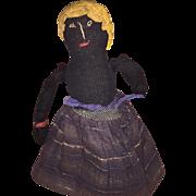 Antique American Folk Art Topsy Turvy Cloth Church Doll