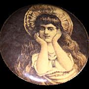 Antique Victorian Celluiod Pocket Vanity Mirror Pretty Girl