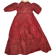 Antique Victorian Red Doll Dress