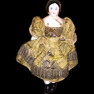 "Antique German Covered Wagon Hair Do 5.5"" Dollhouse Doll"