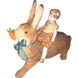 Antique German Flocked Paper Mache Rabbit Candy Container with Stone Bisque Doll