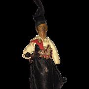 Antique Folk Art Miniature Wooden Turned Bedpost Doll