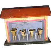 Antique German Dollhouse Miniature Milking Station With Wooden Cow Erzebirge Figurines