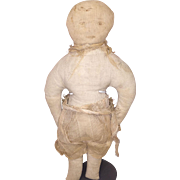 Antique Cloth Ink Face Boy Rag Doll