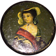 Antique Hand Painted Early Paper Mache Laquered Snuff Box
