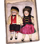 Antique Miniature All Bisque Twin All Original Dolls
