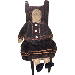 Antique American Cloth Stitched Face Rag Doll