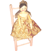 Antique Peg Wooden Grodner Tal Dressed Miniature Doll