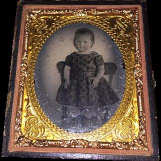 Antique Degureotype Tin Type Image of Young Victorian Girl