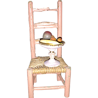Antique German Miniature Dollhouse Wooden Compote with Fruit Marked Germany