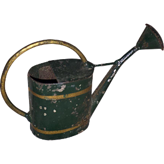 Antique Miniature Tin Painted Doll House Watering Can