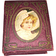 Antique Victorian Sewing Lithograph Box With Miniature Doll Bonnet And Gold Tone Thimble