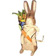 Antique German Paper Mache Easter Bunny Candy Container