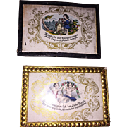 Antique German Dollhouse Hand Colored Pair Of Love Token Engravings