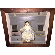 Antique Miniature Grodner Peg Wooden with Old Room Box Setting