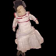 Antique Folk Art Cloth Rolled Dressed Doll