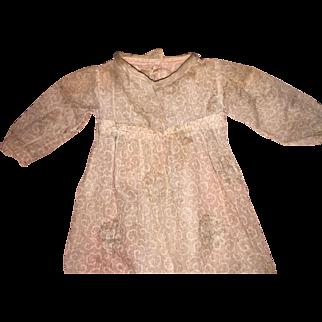 Antique Cloth Empire Waist Old Doll Dress